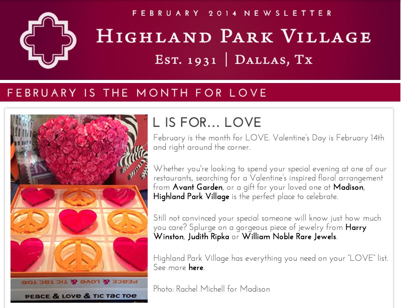 The February 2014 Highland Park Village Newsletter Highland Park
