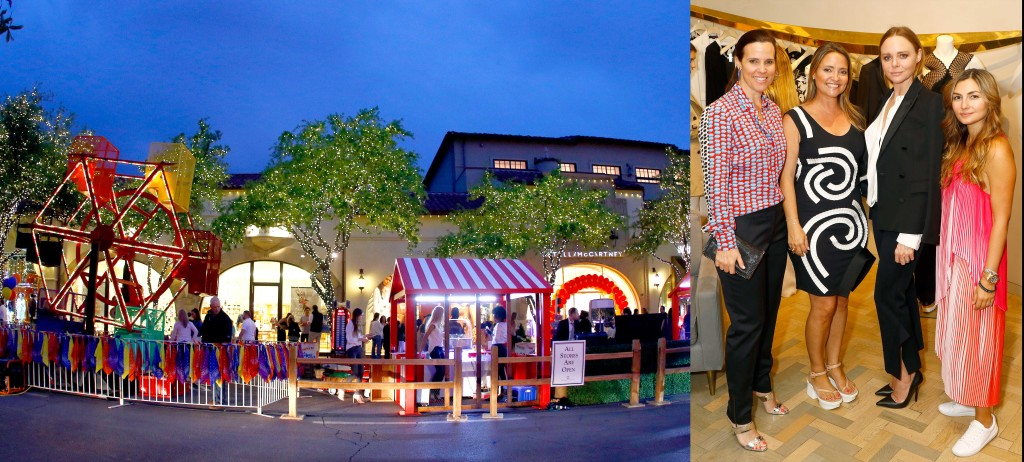 (Left) The ferris wheel and carnival light up the sky outside the Stella McCartney store. (Right) The night's hosts, Heather Washburne, Elisa Summers and Nasiba Adilova Mackie, pictured with designer Stella McCartney at center right.