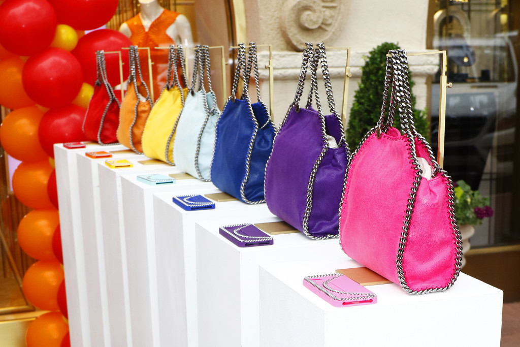Rainbow Pop Falabella bags and phone cases.