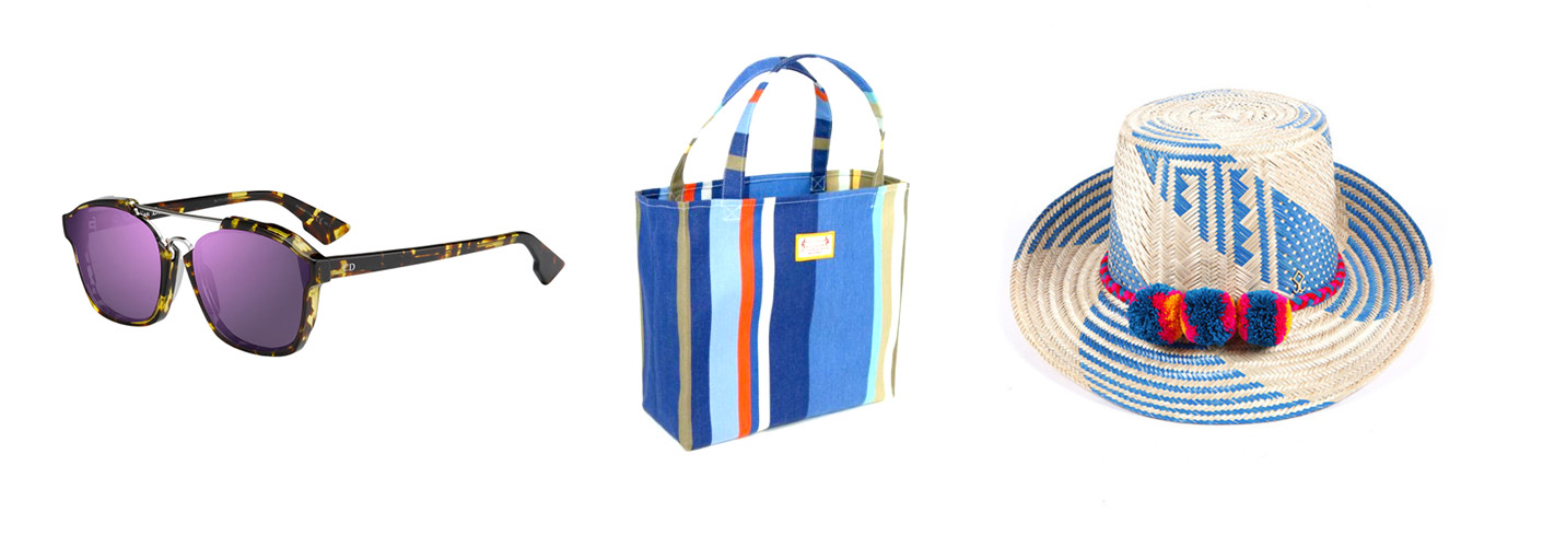 Dior Havana Sunglasses; Les Toiles Du Soliel Tote, $58; Yosuzi Miku Straw Hat, $390.