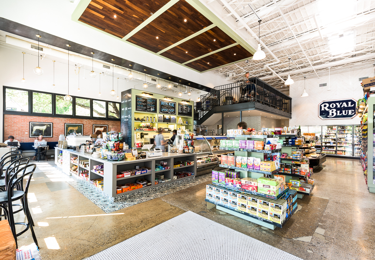 Sitting at 7,000 square feet, Royal Blue Grocery in Highland Park Village serves as the brand's largest location serves as an urban market and cafe.