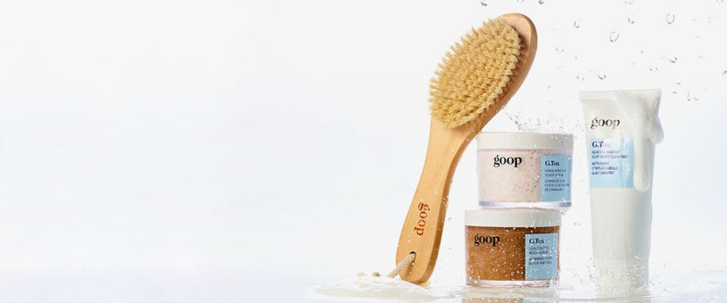 The latest G.Tox products to launch from left to right: the Ultimate Dry Brush to exfoliate and sweep away dead skin cells, the 5 Salt Detox Body Scrub, the Himalayan Scalp Scrub Shampoo, and the Glacial Marine Clay Body Cleanser.
