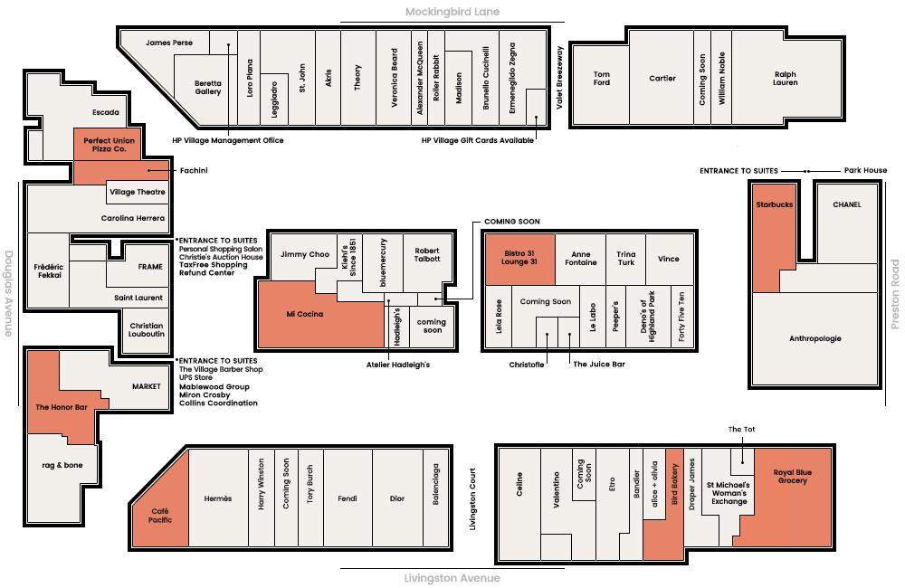 Mapa de los listados de tiendas de Highland Park Village