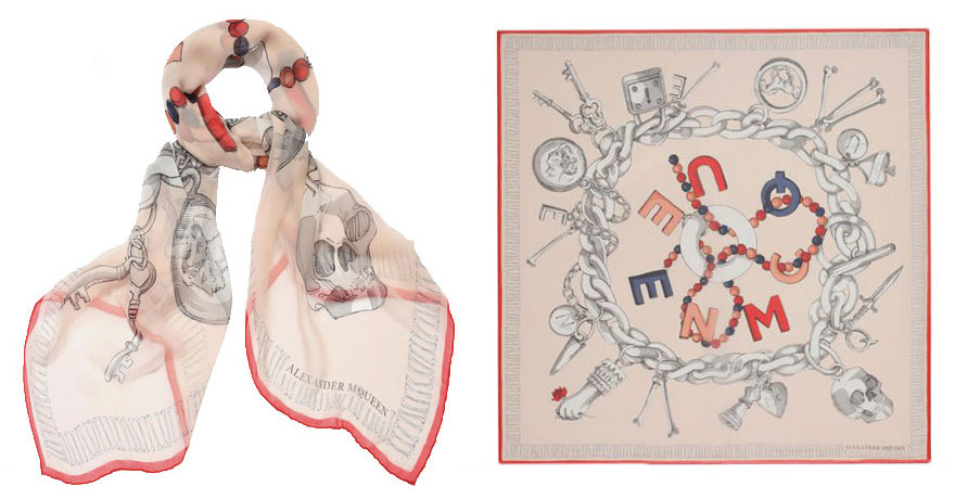 Pick up an Alexander McQueen scarf for the cool Seattle nights. Easy to pack or perfect to wear on the plane, $385.