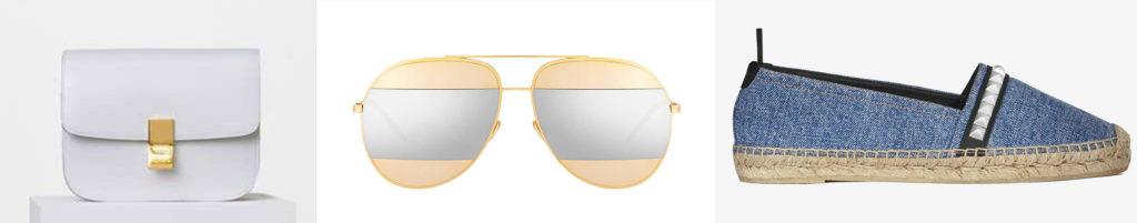 Celine shoulder bag; Dior sunglasses; YSL espadrille, $445.