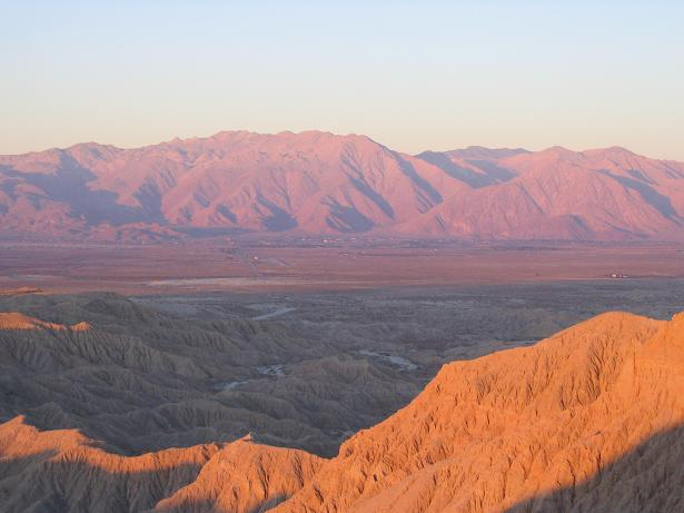 The San Ysidro Mountains just east of downtown San Diego in the Anza-Borrego State Park Desert.