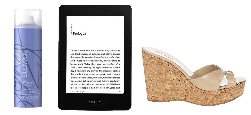 Frederic Fekkai dry shampoo, $20; Amazon Kindle, $120; Jimmy Choo wedge, $450.