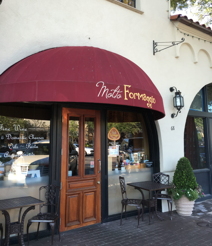 Specialty food and gourmet wine shop, Molto Formaggio, now serves snacks and wine by the glass on their patio.