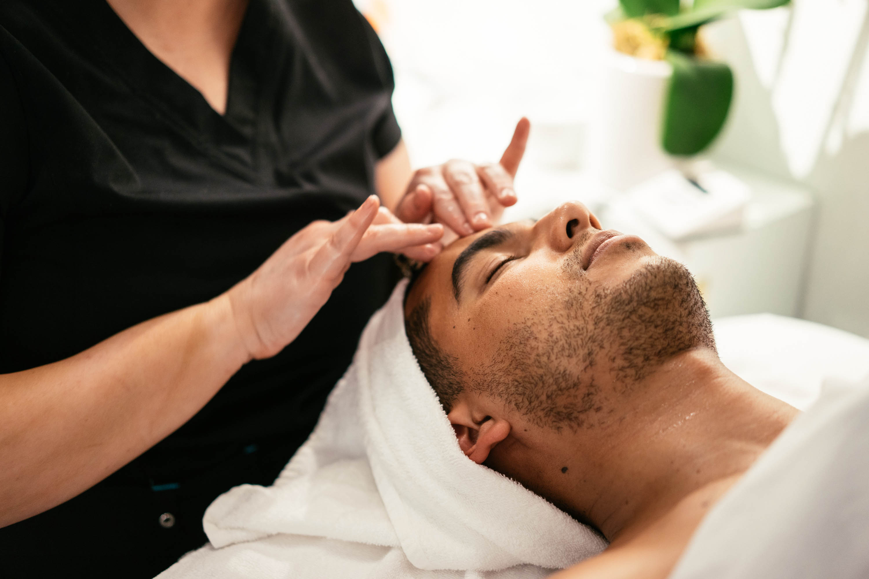 Both men and women can be found indulging in treatments at the Bluemercury Spa.