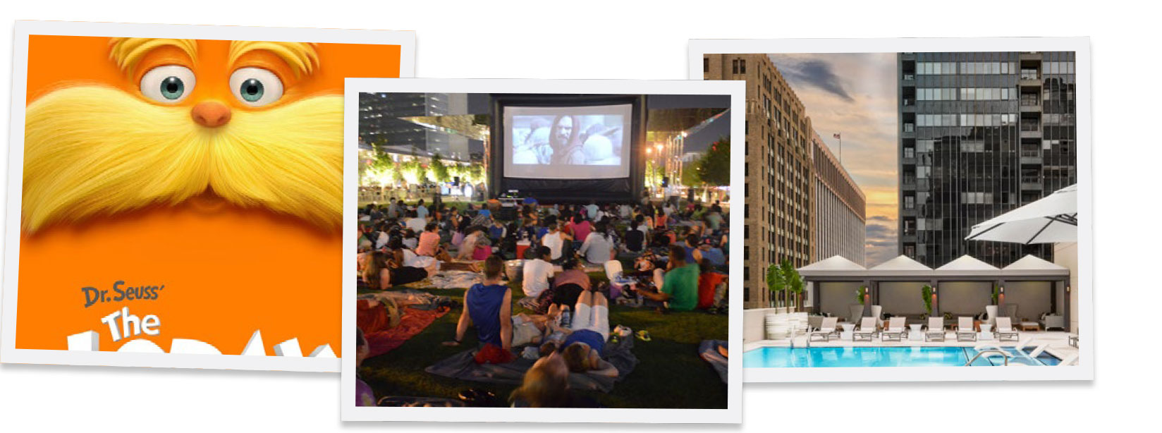 FROM LEFT TO RIGHT: SUMMER KIDS FILM FEST, KLYDE WARREN PARK SUMMER MOVIE SERIES, SUMMER CINEMA SERIES AT POOL ADOLPHUS